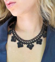 Our most Chic & Unique Ethical Handmade Jewelry Collection of Hand Crocheted Jewelry. The Black Diamond Chic Crochet Necklace is elegantly casual and stylish. Intricately woven with Lace Necklace, Crochet Necklace, Eco Friendly Fashion, Gothic Jewelry, Silver Jewelry, Beautiful Crochet, Hand Crochet, Black Diamond, Jewelry Collection