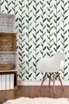 Self Adhesive Removable Wallpaper Watercolor Green Leaves On White for renters Peel and st Temporary Self Adhesive Removable Wallpaper Watercolor Green Room Wall Painting, Room Wall Decor, Wall Design, House Design, Icon Design, Design Design, New Room, Home And Living, Living Room