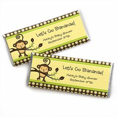 Monkey Neutral - Personalized Candy Bar Wrapper Baby Shower Favors $0.99