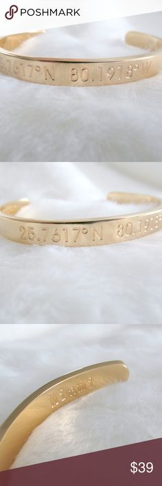 """18k Gold Stamped Miami Coordinates Cuff Bracelet Gold cuff with metal stamped coordinates of Miami.  The coordinates are on the outside with the corresponding city name on the inside of the cuff. Feels solid with a good weight.  The brand recommends that you clean by polishing with a clean dry cloth.  Condition: NWT Type: Bracelet Style: Cuff Brand: Steel Time Style Name: Miami Materials: 18k Gold plated stainless steel Measurements: 7""""L x 0.3""""W  DD0.6:201803271036:0016:0325C Steel Time…"""