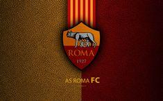 Roma FC, 4k, Italian football club, Serie A, emblem, logo, leather texture, Rome, Italy, Italian Football Championships, AS Roma