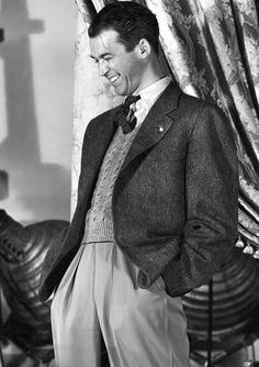"Jimmy Stewart on the set of ""It's a Wonderful Life"" (1946)"