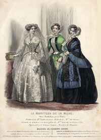 Crinoline, Bride and Two women, Le Moniteur de la Mode, by Jules David. Fitted bodice, full skirt, bell-shaped sleeves, lace under sleeves, bonnet with ribbons, very small waist.