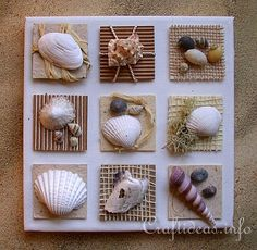 Summer Canvas with Seashells Inchies - this is what I'm doing with my seashells from Sanibel Island. LOVE this! #AlamoDriveHappy @Liz Mester Mester Mays (A Nut in a Nutshell)
