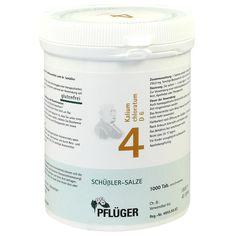 BIOCHEMIE Pflueger 4 Kalium chloratum D 6 Tabletten:   Packungsinhalt: 1000 St Tabletten PZN: 06318921 Hersteller: A.Pflüger GmbH & Co.…