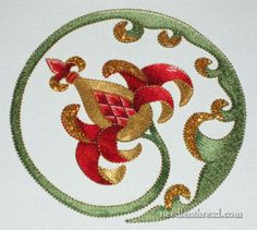 Goldwork & Silk Embroidery - stylized pomegranate (though some people might call it an artichoke!)