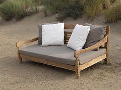 KAWAN XL Lounge Garten Outdoor Sofa Teak Recycled mit Kissen