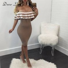 3208dd8e073f New Arrivals 2018 Women's Party Dress Off Shoulder Bandage Dress Nude Sexy  Body con Dress
