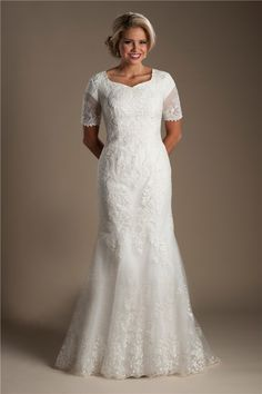Modest Mermaid High Back Short Sleeve Lace Wedding Dress With Buttons