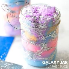 Galaxy Jar DIY | Little Bins for Little Hands Cool Science Experiments, Easy Science, Diy Galaxy Jar, Space Activities For Kids, Galaxy Slime, Stars And Moon, Sun Moon, Slime Recipe, Mason Jars