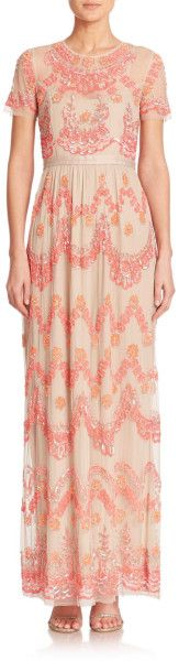 Needle & Thread Beaded-Tier Maxi Dress in Pink (light pink)