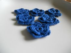 Blue Crocheted Double layer Flower Winter by needlepointnmore, $2.50