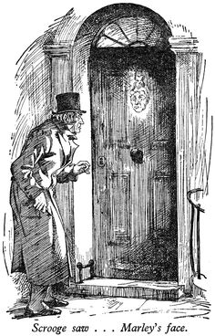 Inch Print - High quality prints (other products available) - Scrooge is startled to see Marley& face on his door, instead of the knocker. - Image supplied by Mary Evans Prints Online - Photograph printed in the USA Christmas Carol Charles Dickens, A Christmas Story, Victorian Christmas, Christmas Wishes, Christmas Ideas, Merry Christmas, A Dance With Dragons, Christmas Drawing, Ink Illustrations