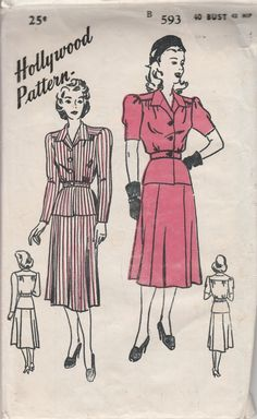 hollywood 593 ladies two piece suit vintage sewing pattern 1940's