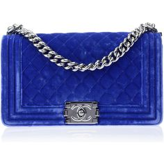 Pre-owned Chanel Blue Velvet Medium Boy Bag ($3,600) ❤ liked on Polyvore featuring bags, handbags, blue bag, chain handbags, chanel, pre owned handbags and velvet handbags