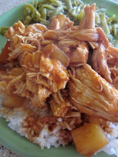 Crock pot Hawaiian Chicken- I've had this many times-I add about 1/2 of the BBQ sauce.  Serve over thin noodles or rice.  I take out the chicken when it is cooked and add a bit of flour to thicken up the sauce.