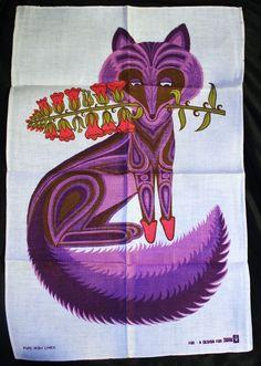 Vintage Retro Belinda Lyon Oxfam Purple Fox Tea towel Irish Linen 1970 perfect