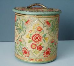 Kitchen Storage Canister - Floral Embossed Turquoise and Pink - Vintage