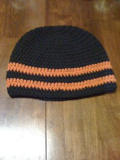 Just finished this Black and Burndt Orange Guys Beanie made with Acrylic Yarn.  Selling for $20.00 Plus Shipping and Handling.  Can also be seen on Facebook and Etsy..