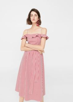 Love the smaller ruffle and seaming. Off-shoulder striped dress -  Women | MANGO USA