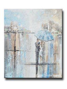 "ORIGINAL Art Abstract Painting Couple with Umbrella Romantic Dance Rain Textured White Blue Grey Wall Art Home Decor 24x20"" - Christine Krainock Art - Contemporary Art by Christine - 1"