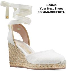 These warm-weather wedges are distinguished by a luxe and lightweight handwoven rope sole and an on-trend wrap-up ankle ribbon complete with SW Star logo hardware accents. Espadrille Sandals, Wedge Sandals, Espadrilles, High End Shoes, Next Shoes, High Wedges, Shoe Company, Hot Heels, Summer Shoes