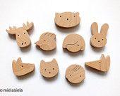 Fridge magnets - ANY 4 wooden magnets - Kids fridge magnets