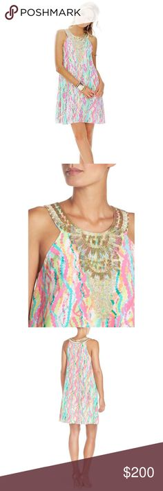 NWT XS Lilly Pulitzer Cadence Dress Dripping in jewels!! Beautiful neon silk Lilly Pulitzer dress with gold embroidery around the neck Lilly Pulitzer Dresses