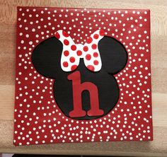 Minnie Mouse 5x5 personalized canvas! $8 plus shipping at https://www.facebook.com/AshleysPersonalizedCraftStore