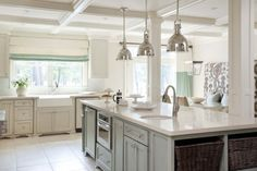 Painting Kitchen Cabinets: Wool Skein & Chatroom (island) by Sherwin Williams