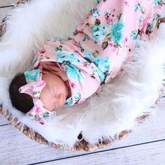 Sweet Pea Pink Swaddle & Headband Set – Milkmaid Goods