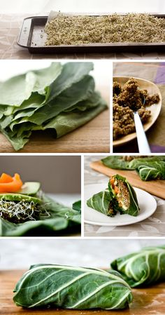 Vegan, gluten free spicy collard wraps. Delish.