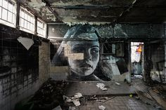 Abandoned homes and beautiful women by Rone, urban artist and designer