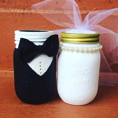 Custom bride & groom mason jars wedding decor by SmittenGiftShop