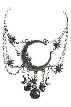Celestial Goth Crescent Moon Face and Stars Sleepless Nights Witchy silver necklace - Moon magic crescent moon with face lunar magic necklace Long Silver Necklace, Silver Jewelry Box, Goth Jewelry, Sea Glass Jewelry, Silver Bracelets, Silver Earrings, Silver Ring, Wiccan Jewelry, Gold Jewellery