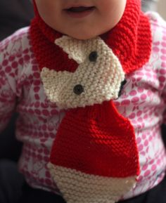 knitted fox scarf -- but might be able to copy this in crochet. if you click through, the site is in finnish and the link to the instructions does not work. Knitting For Kids, Loom Knitting, Knitting Projects, Baby Knitting, Crochet Projects, Knitting Patterns, Crochet Patterns, Knit Or Crochet, Crochet Scarves