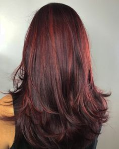 Dark brown hair with light red highlights brown hair with pink highli Red Highlights In Brown Hair, Brown Balayage, Brown Blonde Hair, Light Brown Hair, Brown Hair Colors, Brunette Hair, Dark Brown, Peekaboo Highlights, Red Foils Hair