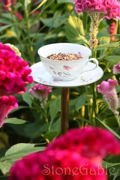China Tea Cup Bird Feeder Tutorial