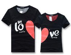 T shirt hommes femmes mode couple amoureux de nouveaux sommets pour 2014 été, en forme de coeur en coton casual vêtements livraison gratuite