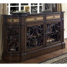 Wrought Iron Marble and Carmel Wood Credenza - #W2681 | LampsPlus.com