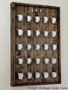 tutorial: wood plank + mini bucket advent calendar {Our Vintage Home Love}