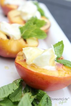 Grilled Peaches with Mascarpone | The DomesticLife Stylist - Featured at the #HomeMattersParty 47