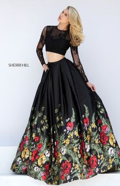 Floral Print Sherri Hill 50599 Lace Open Back Two Piece Dress 2016 Pretty Dresses, Beautiful Dresses, Robes D'occasion, Modelos Fashion, Long Evening Gowns, Vestidos Vintage, Two Piece Dress, Mode Inspiration, Homecoming Dresses