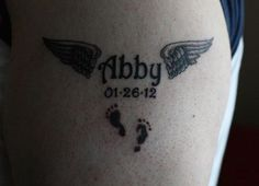 Abby - For your little angels, a tattoo of their names will never be a mistake. #TattooModels #tattoo