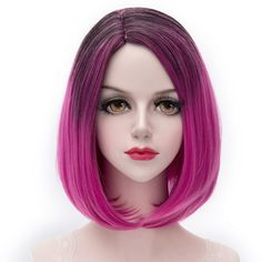 Fashion Centre Parting Capless Short Synthetic Straight Charming Black Gradient Rose Women's Cosplay Wig