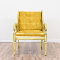 Eclectic Carved Yellow Armchair W/ Caning 2