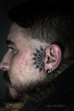 Face tats - 45 Face tattoos Designs and ideas – Face tats Tattoo Nape, Head Tattoos, Side Tattoos, Piercing Tattoo, Body Art Tattoos, Small Tattoos, Sleeve Tattoos, Portrait Tattoos, Mandala Tattoo Design