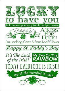 Free St. Patrick's Day Printable Subway Art
