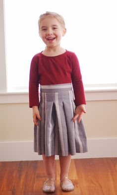 PDF Sewing Pattern - An absolutely fabulous looking Mommy and Me pleated skirt & top set with lots of options! Top is knit/stretch fabrics. Skirt is woven fabrics.