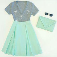 Palm Tree Print + Mint Midi Skirt